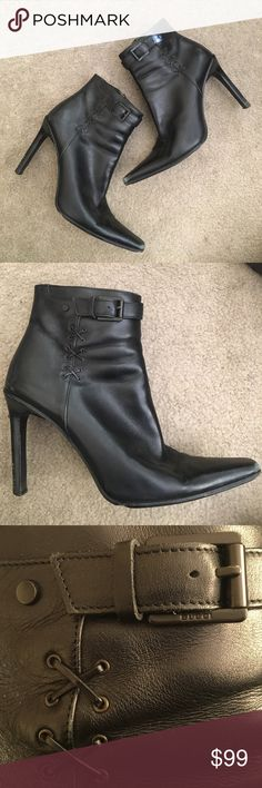 Gucci black boots Gucci black leather booties worn in front and one boot has a missing buckle piece. (See 6th picture) very worn heels. The perfect new booties for fall! 🍁 Gucci Shoes Ankle Boots & Booties