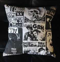 Urban Decor Punk Flyer Collage Pillow Case - Punk Rock Throw Pillow is Great for Decorating a Rocker Apartment or Bedroom!