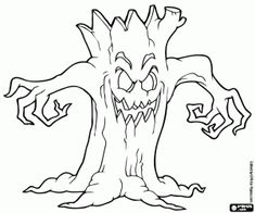 Free Coloring Pages, Coloring Books, Halloween Coloring Pages Printable, Haunted Tree, Online Drawing, Halloween Party, Moose Art, Witch, Printables