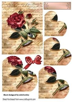 Red roses for you heart corner stackers on Craftsuprint - Add To Basket!