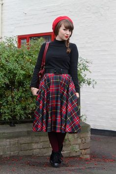 Full plaid skirts are always in style. #beret #plaid #separates