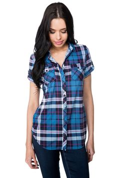 Plaid Shirt with Short Roll-up Sleeves