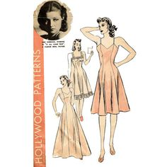 1940s Hollywood 416 Slip Pattern Movie Star Ann Sheridan Bust 34 Princess Seam Full Slip Spaghetti Strap Evening Dress Vintage Pattern