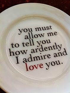 Pride and Prejudice quote plate