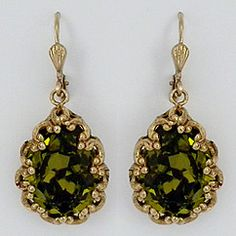 La Vie Parisienne vintage French crystal teardrop earrings in encased gold filigree settings. Beautiful olive & green crystal shades. Fabulous for bridesmaids, parties and every day wear.