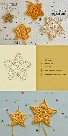 Bees and Appletrees (BLOG): sterretjes haken - crochet stars pattern