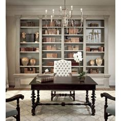 Distressed Built In Cabinets - French - den/library/office - Sherwin Williams Ermine - The Owen Group