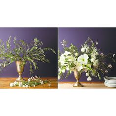 Side-Table Sparkle: Floral designer Nicolette Owen illustrates the simple steps to creating a not-too-Christmasy arrangement for a buffet or entry hall in our silver urn. This how-to from the Wall Street Journal starts with olive branches, then amaryllises, ranunculuses, and tulips. It is finished with touches of berries, tallow here, and a few narcissuses for fragrance.