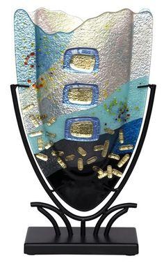 Fused Glass V Vase
