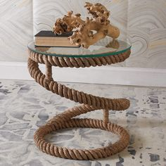 Coiled Jute Rope End Table Throw me a rope! This Jute-based accent table with a removable glass top is the perfect accent for a modern or casual coastal setting. Rope Decor, Stair Decor, Diy Crafts For Home Decor, Rope Crafts, Creation Deco, Home Room Design, Decorative Cushions, Sisal, Jute