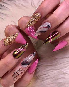 Nail Shapes - My Cool Nail Designs Glam Nails, Dope Nails, Bling Nails, Fancy Nails, Stiletto Nails, Beauty Nails, Pointed Nails, Shellac Nails, Nail Gel