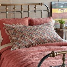 Women's Clothing and Unique Jewelry : AUGUSTINA LINEN PILLOW — Thick, luxurious linen is digitally printed with antique Turkish carpet patterns in earthy colors in this plush and elegant decorative pillow. Down fill and soft fringe. Teal Pillows, Linen Pillows, Couch Pillows, Decorative Pillows, Throw Pillows, Teal Carpet, Patterned Carpet, Cotton Bedding, Pink