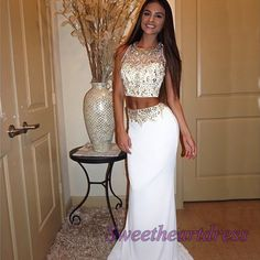 Elegant two pieces prom dress, ball gown, 2016 handmade white satin occasion…