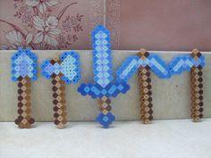 Minecraft: Perler Bead 5 Piece Diamond Weapon Set by heatbish.deviantart.com on…