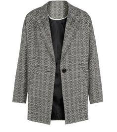 New look boyfriend coat diamond pattern Boyfriend Coat, Oversized Blazer, Teen Fashion, Coats For Women, New Look, Monochrome, Latest Trends, Lady, Sweaters