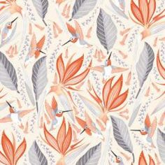 Equivalent to a U. Animal Wallpaper, Of Wallpaper, Designer Wallpaper, Wallpaper Ideas, Tropical Wallpaper, Wallpaper Patterns, Bathroom Wallpaper, Orange Flowers, Colorful Flowers