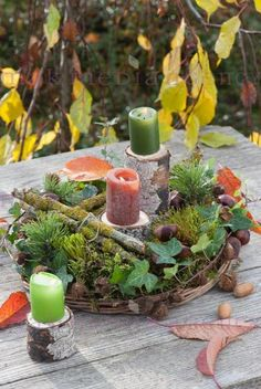 Floristic decorations with finds from the autumn forest: forest wreath of moss, tw . Seasonal Decor, Fall Decor, Autumn Decorations, Christmas Wreaths, Xmas, Cafe Art, Autumn Forest, Autumn Photography, Deco Table