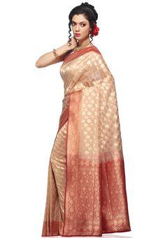 Light Beige Banarasi Silk Georgette Saree with Blouse: SHR108