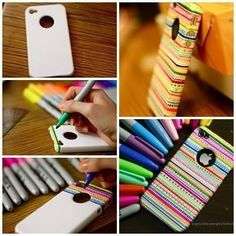 #DIY teens phone cases. I would also paint a coat of clear nail polish so it won't wear off ^-^
