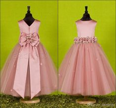 Wholesale Flower Girl Dresses - Buy Beautiful Pink Handmade Flower Jewel Flower Girl Dresses With Exquisite Sash Little Girl Pageant Dress Taffeta Birthday Gowns Cheap Bow, $86.22 | DHgate