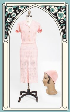 Lovely 1930s Pink Crocheted Dress with Matching Hat – Bygones