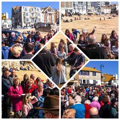 Singing on the slipway in St Ives, Cornwall, after the Easter Day service. 2015.