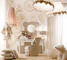 lampshade lights, upholstered shape at wall behind desk