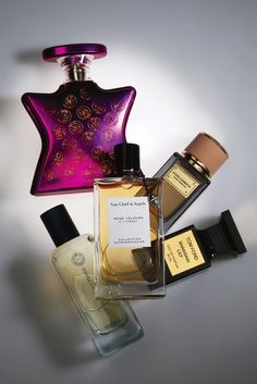 Niche Scents: Bond NYC No. 9 Perfumista Avenue; Dolce and Gabbana Velvet Tender Oud; Tom Ford Eau de Parfum Shanghai Lily; Hermès Hermessence Collection Épice Marine; Van Cleef & Arpels Rose Velours.