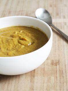 Lentil & Sweet Potato Soup- onion, carrot, sweet potatoes, ginger, nutmeg, red lentils, stock, salt & pepper
