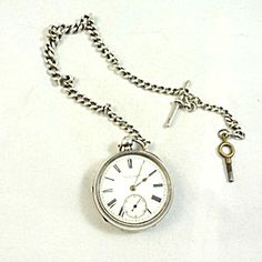 Silver Pocket Watch And Chain, Late Victorian. Silver Pocket Watch, Vintage Pocket Watch, Pocket Watches, Envy, Victorian, Chain, Antiques, Accessories, Antiquities