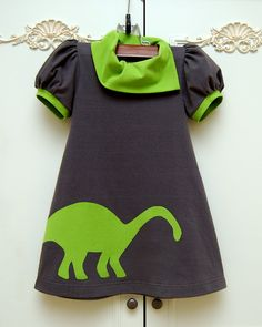 3T toddler girls dress Dinosaur Dress gray and by MightyBunny, $68.00