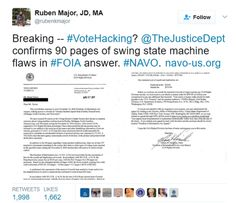 """aliasvaughn: """"Start sharing this EVERYWHERE, because what we said RIGHT after the election and us wanting to #AuditTheVote is now being justified AND confirmed by the Justice Department. MACHINE..."""