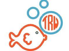 Goldfish Monogram Shirt, Under the Sea  Monogram, Personalized Fish Shirt by thesimplyadorable on Etsy