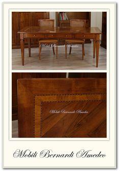 Tavolo scrittoio 180x80 cm in noce massello con intarsi in legno di olivo e filetto policromo. 3 cassetti.
