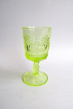Vintage Vaseline Uranium Depression Glass Yellow by euphoriaresale