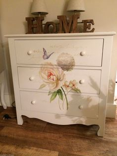 Cream Shabby Chic Chest of Drawers Vintage Butterfly 3 Drawer Bedroom Storage | eBay