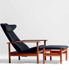 Rare example of model 1001 reclining chair with footstool designed by Sven Ivar Dysthe in 1960 and produced by Dokka Møbler AS