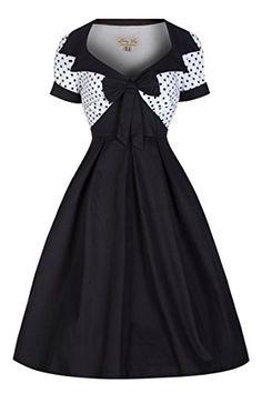 Lindy Bop 'Delilah' Vintage 50's Polka Dot Bow Trim Fit N Flare Dress (XS, Black)