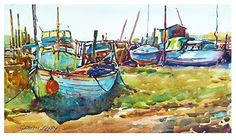 "Skippool scene by Graham Berry Watercolor ~ 11"" x 19"""