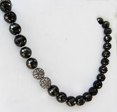 Black Onyx Statement Necklace with Disco Ball by KATcustomDESIGNS, $46.00