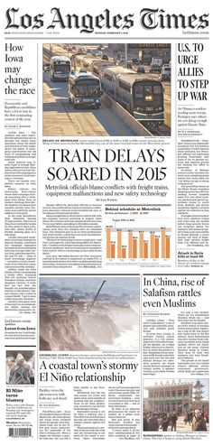 #20160201 #USA #CALIFORNIA #LosAngeles #LosAngelesTimes Monday, FEB 1, 2016 http://www.newseum.org/todaysfrontpages/?tfp_show=80&tfp_page=1&tfp_id=CA_LAT