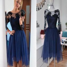Navy long sleeve lace see through tulle simple modest casual homecomin – LoverBridal