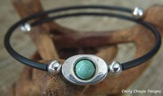 Memory Wire/Turquoise/Silver Accents and Black Rubber Tubing Bracelet