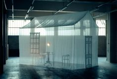 I love this transparent house! Transparent walls would be interesting on a thrust stage.