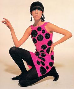 1960s: rudi gernreich model peggy- mod, bright bold colors, tights, ballet flats