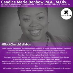 Candice Benbow shares her reading list for the Black Church, Gender Studies, Reading Lists, I Am Awesome, Student, Thoughts, Learning, Words, Life