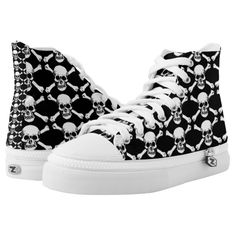 Skulls Black White sneaker shoes.  Unisex sizing: 4-13 Men's | 6-15 Women's Material: Durable canvas tops, rubber soles. ZIPZ® shoes are interchangeable! The top cover can be zipped on and off so you can easily switch up your style on the go. Rubber soles are manufactured with extra cushioned insoles and a specially designed arch support system to give your feet a comfortable and healthy fit.