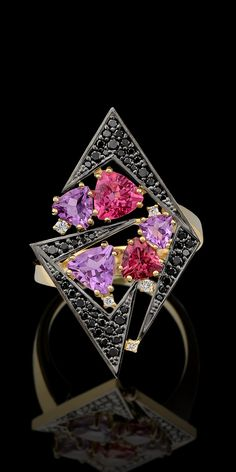 Master Exclusive Jewellery, Kaleidoscope collection, tourmalines, amethysts and diamonds ring