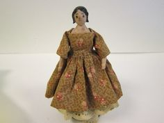 Early Wooden Peg Doll German All Original C8