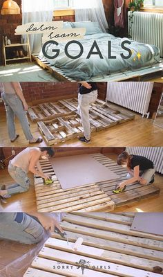 Use Pallet Wood Projects to Create Unique Home Decor Items Wood Pallet Beds, Diy Pallet Bed, Diy Pallet Projects, Wood Pallets, Pallet Ideas, Pallett Bed, Pallet Bedframe, Girl Apartment Decor, The Sorry Girls